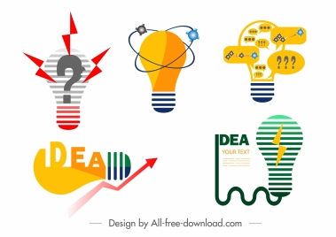idea concept design elements colored flat lightbulb sketch