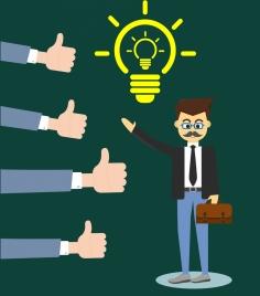 idea concept theme businessmen lightbulb hand sign design