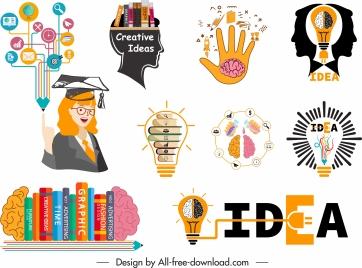 idea design elements colored flat symbols