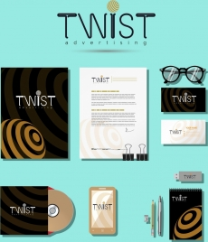 identity sets twist decoration office devices icons