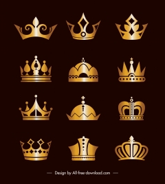 imperial crown icons shiny golden classic design