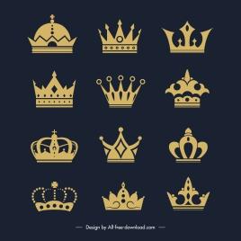 imperial crown templates golden flat elegant design