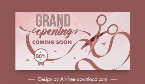 inauguration card template dynamic scissors ribbon sketch