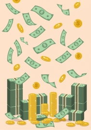 income concept background falling money coins decoration