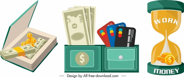 income design elements savings cash card coin sketch