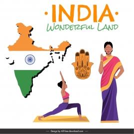india design elements flag map costume yoga sketch