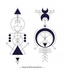 indian traditional tribal tattoo template flat geometric symmetry