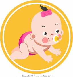 infant baby icon crawling gesture cute cartoon sketch