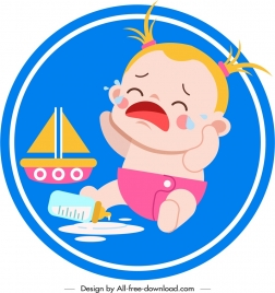 infant baby icon crying emotion cartoon character sketch
