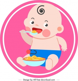 infant baby icon eating gesture cute cartoon sketch