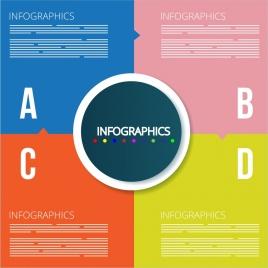 infographic background alphabet sections isolation flat design