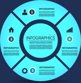 infographic background blue round pie decoration