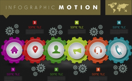 infographic background colorful gears ui icons decoration