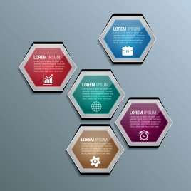 infographic background template shiny colored hexagon decoration