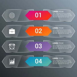 infographic banner design grey glass colored arrows decoration