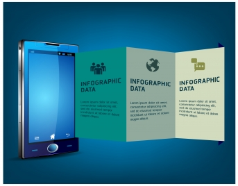 infographic data vector illustrations with smart phone background