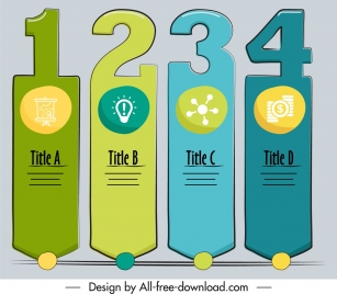 infographic design elements flat classic number tags shapes