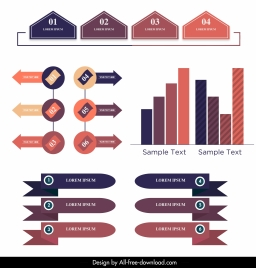 infographic design elements modern colorful flat 3d shapes