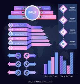 infographic design elements modern violet pink flat 3d