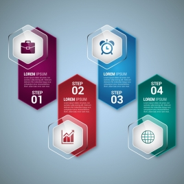 infographic design elements vertical shiny hexagon style