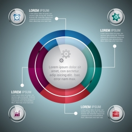 infographic design template shiny round style