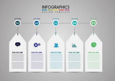 infographic design template white tags icons