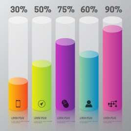 infographic design with colorful vertical cylinders and percentage