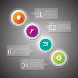 infographic design with round icons on dark background
