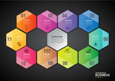 infographic diagram design with colorful beehive background