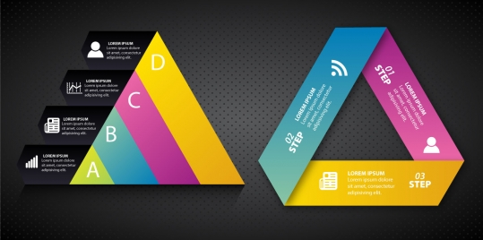 infographic illustration with abstract colorful triangles