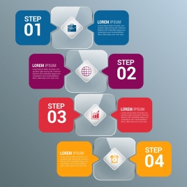 infographic template colored shiny speech baubles style