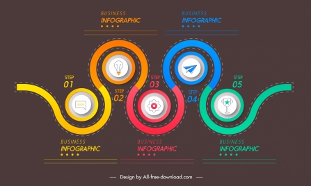 infographic template colorful curved lines circles decor