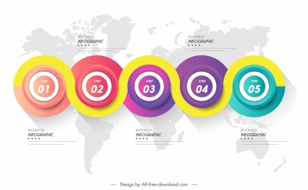 infographic template colorful modern circles connection decor