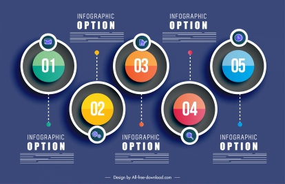 infographic template colorful modern flat symmetric circles decor