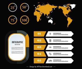 infographic template continental map sketch modern dark