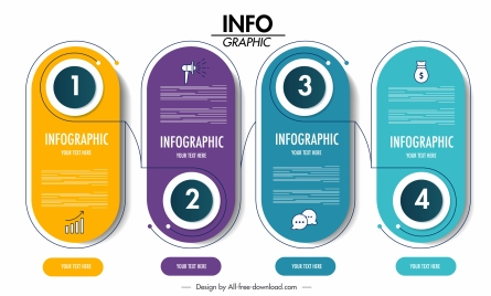 infographic template modern colored vertical rounded sticker shapes
