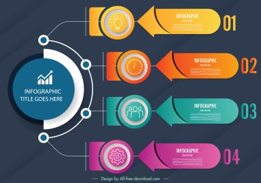 infographic template modern colorful circles horizontal tabs decor