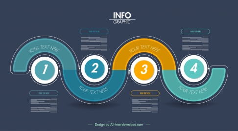 infographic template modern dark colored flat rounds curves