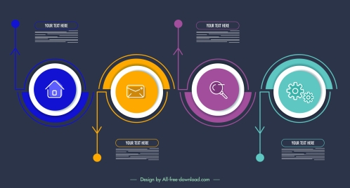 infographic template modern dark colorful circles decor