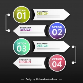 infographic template modern flat circles arrows shapes decor
