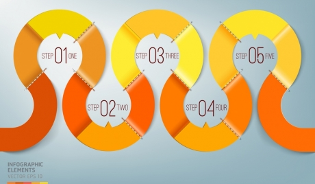 infographic template shiny curved orange line decor