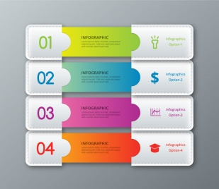 infographic vector design with 3d leather tabs illustration