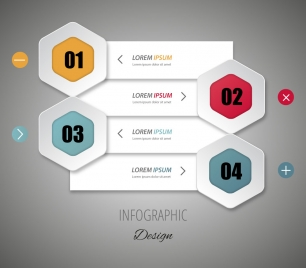 infographic vector design with 3d tabs and hexagons