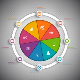 infographic vector design with equally divided circle
