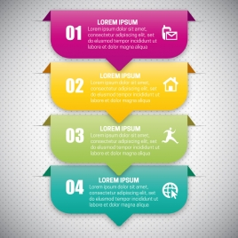 infographic vector illustration with 3d colorful tags