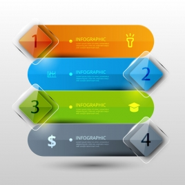 infographic vector illustration with transparent horizontal banners