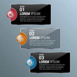infographics templates sets shiny dark design joints style