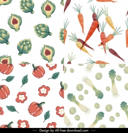ingredients pattern templates artichoke carrot chilli scallions sketch