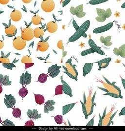 ingredients pattern templates orange luffa beet corn sketch
