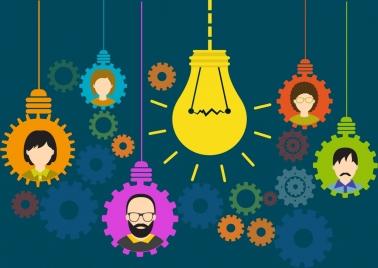 innovation concept theme lightbulbs gears human icons decoration